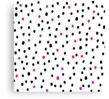 Modern neon pink black polka dots illustration Canvas Print