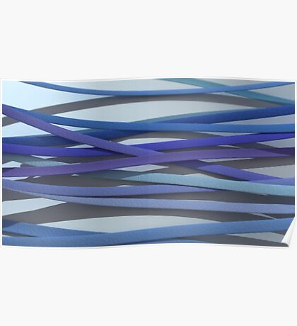 ribbon paper background blue Poster