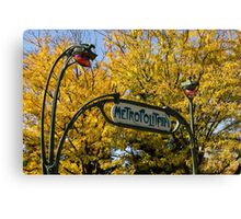 Famous Paris Metropolitain Sign with Golden Trees Background Canvas Print