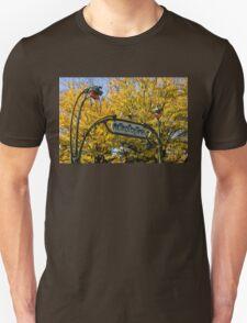 Famous Paris Metropolitain Sign with Golden Trees Background T-Shirt
