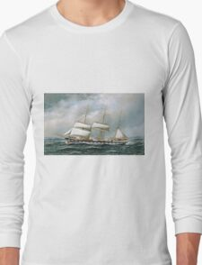 Antonio Jacobsen - The Norwegian Bark Superb Shortening Sail In Mid-Ocean Long Sleeve T-Shirt