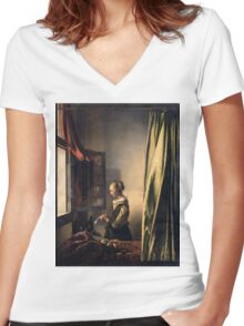 Johannes Vermeer - Girl Reading a Letter by an Open Window  1659 Women's Fitted V-Neck T-Shirt
