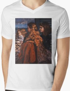 Gustave Courbet - Three Young Englishwomen by a Window 1865 , Girl with Red Hair Mens V-Neck T-Shirt