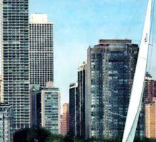 Chicago IL - Sailboat Against Chicago Skyline Sticker
