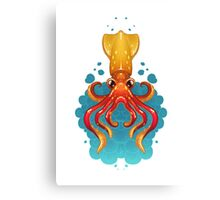 Neon Squid Canvas Print