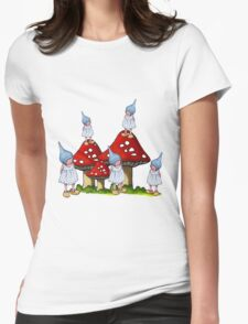 Fantasy Art: Little Gnome Girls and Toadstools Womens Fitted T-Shirt