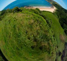 Kinnagoe Bay (as a floating green planet) Sticker