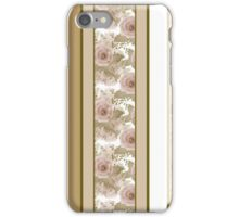 Retro colors floral roses vertical lines pattern texture beige brown background iPhone Case/Skin