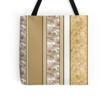 Retro colors floral roses vertical lines pattern texture beige brown background Tote Bag