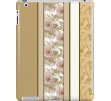 Retro colors floral roses vertical lines pattern texture beige brown background iPad Case/Skin