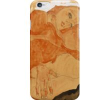 Egon Schiele - Girl in Red Robe and Black Stockings 1911  Egon Schiele  Woman Portrait iPhone Case/Skin