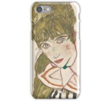 Egon Schiele - Edith with Striped Dress, Sitting 1915, woman Egon Schiele  iPhone Case/Skin