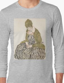 Egon Schiele - Edith with Striped Dress, Sitting 1915, woman Egon Schiele  Long Sleeve T-Shirt