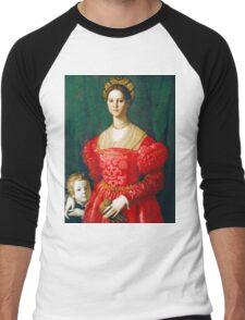Agnolo Bronzino - A Young Woman and Her Little Boy  1540 Woman Portrait Men's Baseball ¾ T-Shirt