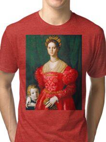 Agnolo Bronzino - A Young Woman and Her Little Boy  1540 Woman Portrait Tri-blend T-Shirt