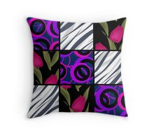 Patchwork seamless floral pattern texture background with tulips Throw Pillow