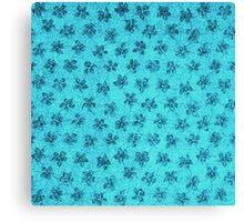 Vintage Floral Turquoise Teal Blue Canvas Print