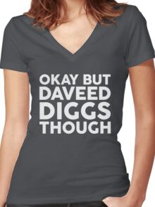 Daveed Diggs tho. (white font) Women's Fitted V-Neck T-Shirt