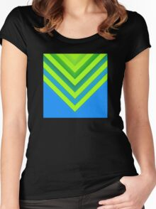 Sky & Lime Chevron Women's Fitted Scoop T-Shirt