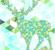 Flower Deer with Triangles - Blumen Hirsch mit Dreiecken by Martina Cross