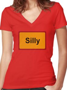 Silly, Road Sign, Belgium Women's Fitted V-Neck T-Shirt