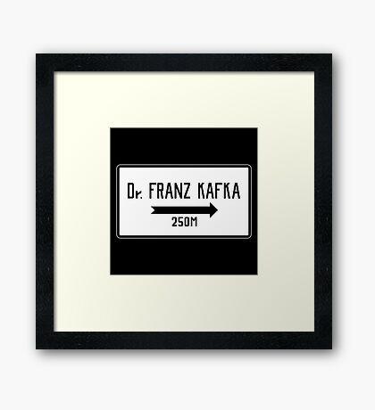 Dr Franz Kafka 250M Sign, Prague Cemetery, Czech Republic Framed Print
