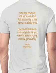 J.R.R, Tolkien, The Fellowship of the Ring, All that is gold does not glitter, T-Shirt