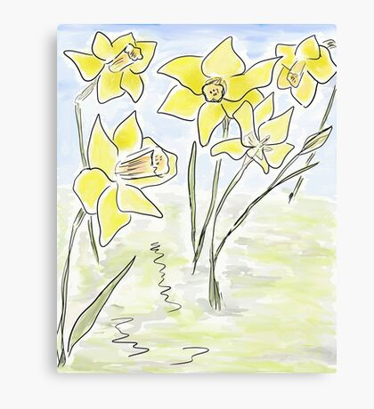 Bright Spring Daffodils (Digital Watercolour) Canvas Print