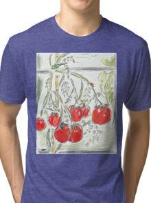 """Tomato Digital Painting (""""In the Greenhouse"""") Tri-blend T-Shirt"""