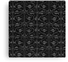 Vintage Leaf and Vines Charcoal Gray Black Canvas Print
