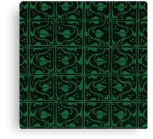 Vintage Leaf and Vines Forest Green and Black Canvas Print