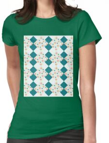 Beautiful flower pattern with royal green background Womens Fitted T-Shirt