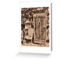 """OUTHOUSE AND NEXT IN LINE""... prints and products Greeting Card"