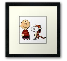 Charlie Brown and Snoopy as Calvin and Hobbes Framed Print
