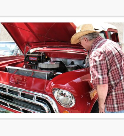 """""""Checkin' Out This Baby, a 1951 Chevy Truck""""... prints and products Sticker"""
