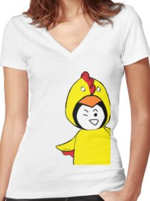 Pengychicken - a penguin in a chicken costume Women's Fitted V-Neck T-Shirt