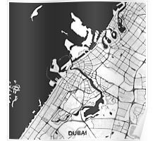 Dubai City Map Gray Poster