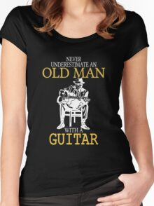 Never Underestimate An Old Man With A Guitar Degree Women's Fitted Scoop T-Shirt