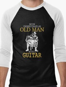 Never Underestimate An Old Man With A Guitar Degree Men's Baseball ¾ T-Shirt