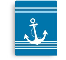 Nautical Blue and White Stripe Design with Anchor Canvas Print