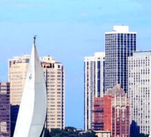 Chicago IL - Two Sailboats Against Chicago Skyline Sticker