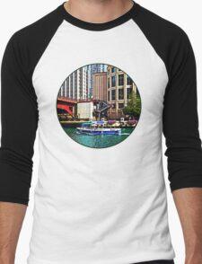 Chicago IL - Water Taxi by Columbus Drive Bridge Men's Baseball ¾ T-Shirt