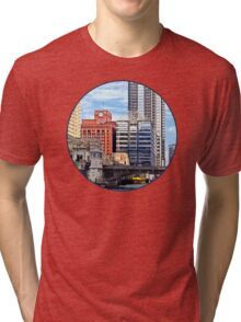 Chicago IL - Water Taxi Passing Under Lyric Opera Bridge Tri-blend T-Shirt