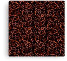 Vintage Swirl Floral Orange and Black Canvas Print