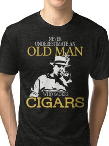 Never Underestimate An Old Man Who Smokes Cigars Tri-blend T-Shirt