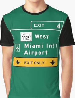 Miami International Airport (MIA), Road Sign, Florida Graphic T-Shirt