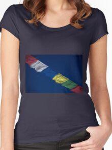 Tibetan Buddhist Prayer Flags Nepal Women's Fitted Scoop T-Shirt