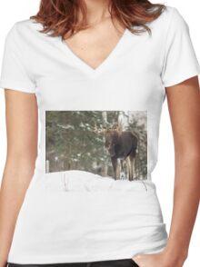 Bull moose in winter Women's Fitted V-Neck T-Shirt