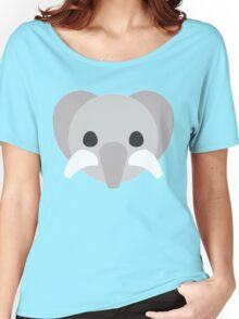 Cartoon Cute Elephant Face Women's Relaxed Fit T-Shirt