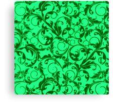 Vintage Swirls Green Canvas Print